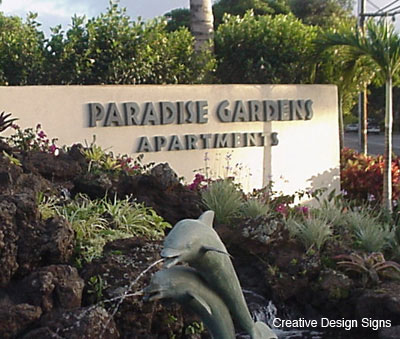 Superior Paradise Gardens   Custom Cut Letters With Faux Bronze Patine Finish. Stud  Mounted On. Paradise Gardens Apartments